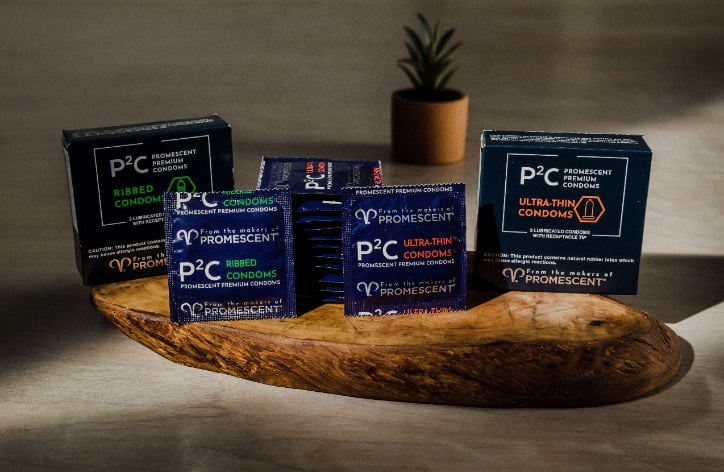 Promescent ultra thin and ribbed condoms