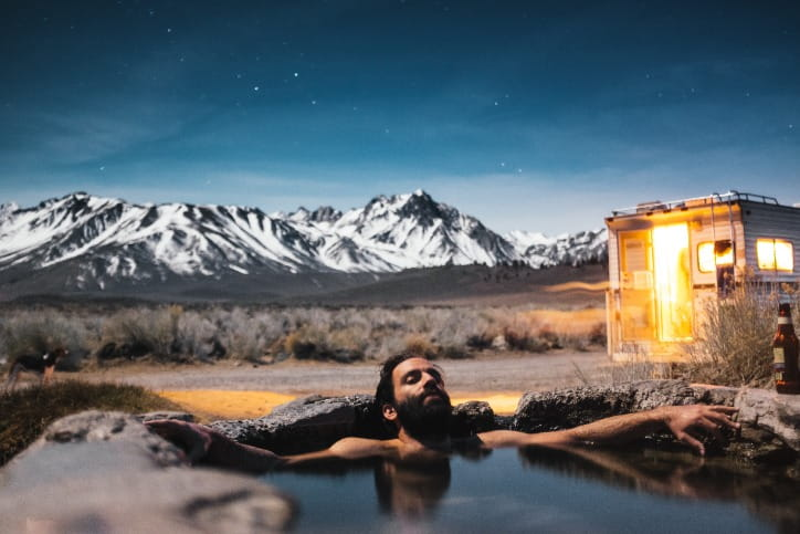 Man Relaxing in Hot Spring