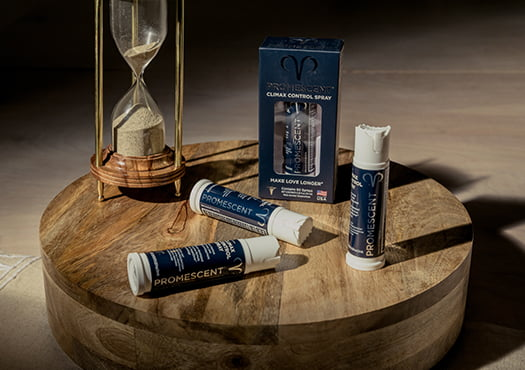 Promescent delay spray with a hour glass in the background symbolizing the time you would gain when lasting longer in bed.