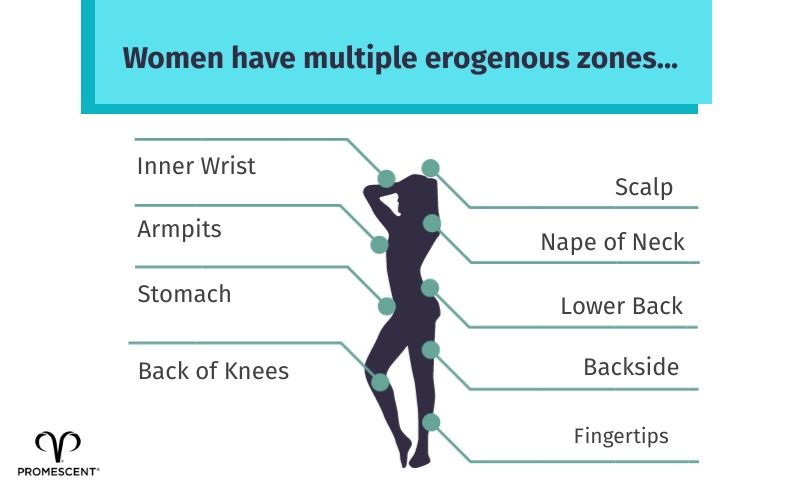 An image detailing other sensitive areas of the female body that can stimulate arousal