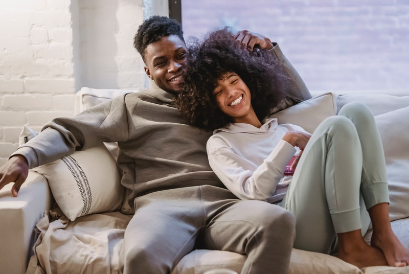 Couple happy after learning how to scissor