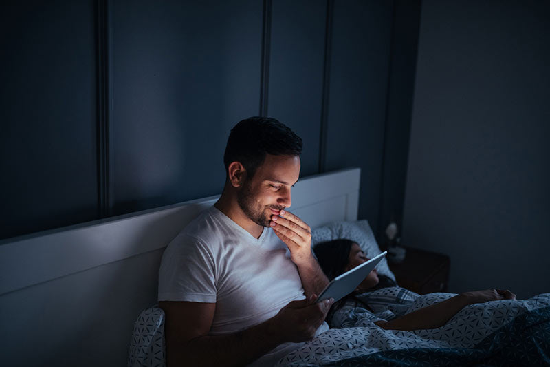 Man searching online for home remedies for premature ejaculation