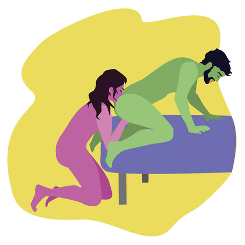 Man getting analingus in doggy style position