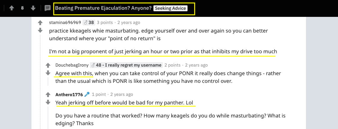 reddit article about beating premature ejaculation