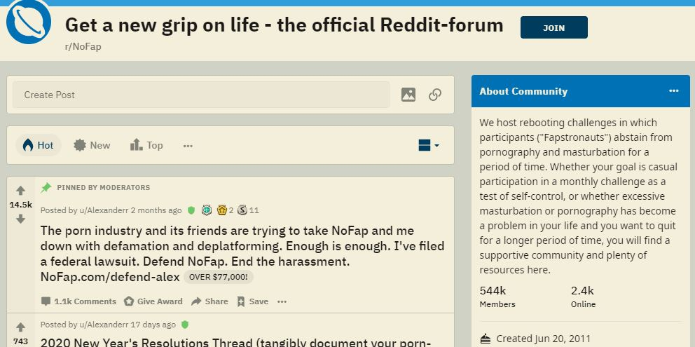 NoFap community on Reddit