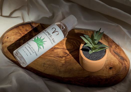 Proemscent organic lube for sex placed on a piece of wood and next to a plant, symbolizing it's organic ingredients.