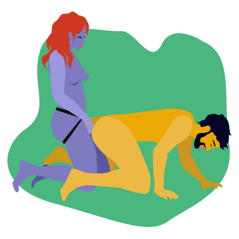 Pegging doggystyle sex position