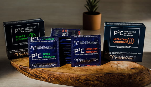 Promescent ribbed and ultrathin condoms variety pack