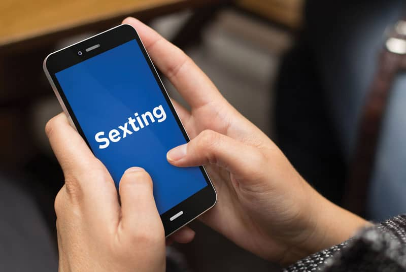 sexting on phone screen