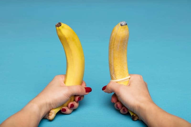 Sexual demonstration with a banana