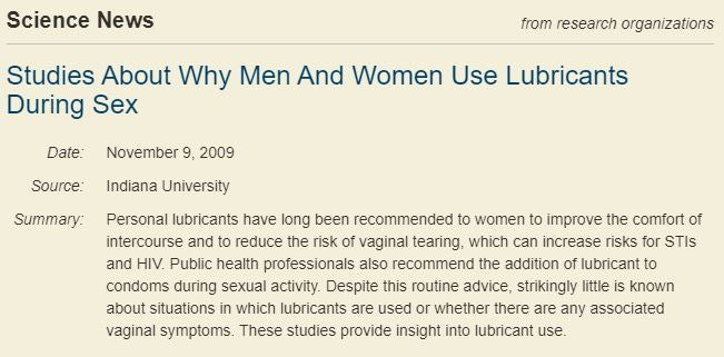 Men, Women and Lubricants Sex Study