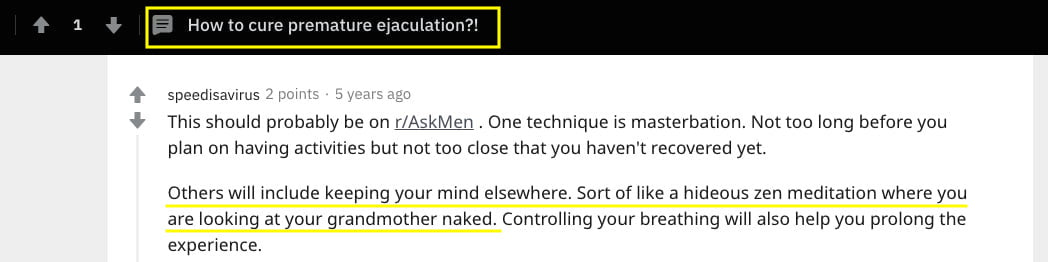 reddit article about curing premature ejaculation