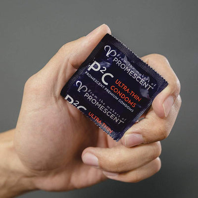 An ultra thin condom made by Promescent show in a male's hand
