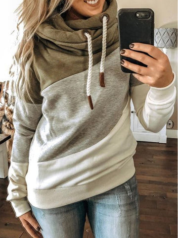 Solid Pullover Hoodies Drawstring Long Sleeve Hoodies Sweatshirts For Women