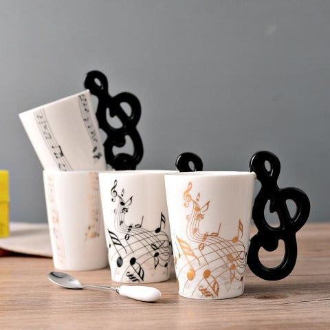 Musical Coffee Cup With Lid And Violin Handle Water Tea Drinks Cup