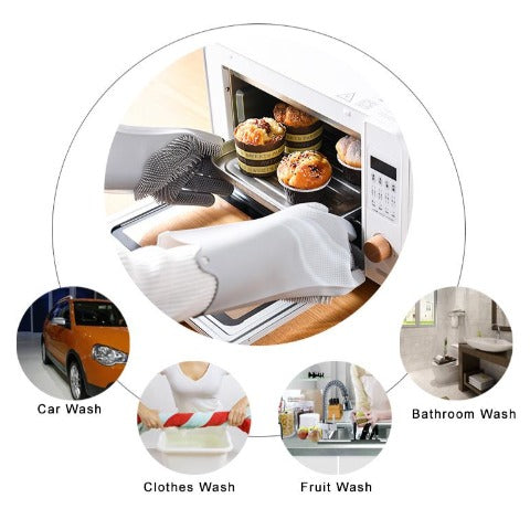 Magic Washing Gloves, Reusable Silicone Dishwashing Gloves  with Scrubbers for Kitchen, Bathroom Cleaning