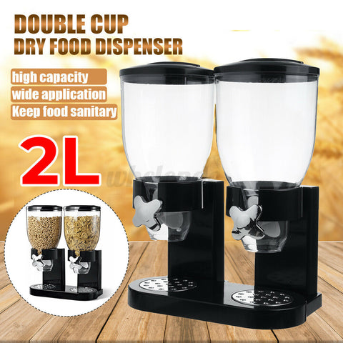 Double Cereal Dispenser with Portion Control Dry Food Dispenser