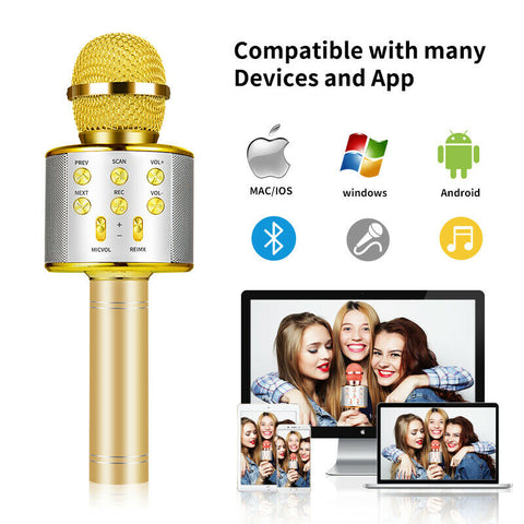 Wireless Bluetooth Karaoke Microphone With Controllable LED Lights Bluetooth Microphone Speakers
