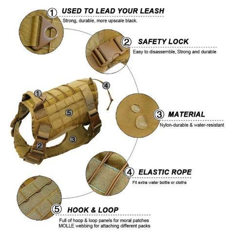 Tactical No-Pull Dog Harness, Military Dog Vest
