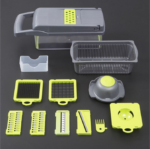 12 in 1 Vegetable Chopper Heavy Duty Mandolin Slicer Grater with Container