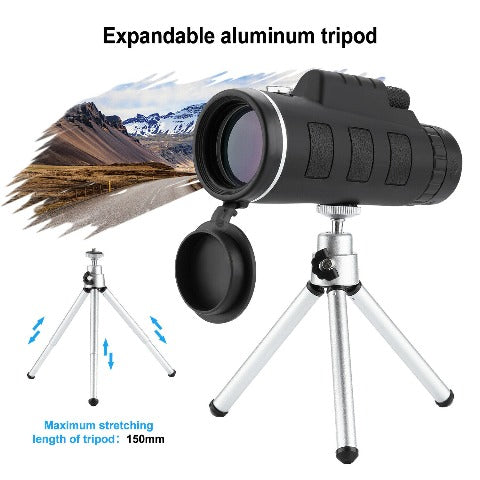 Waterproof Monocular Mobile Telescope With Phone Clip Tripod Night Vision