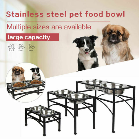 Raised Dog Bowls Adjustable Stainless Steel Double Dog & Cat Bowls