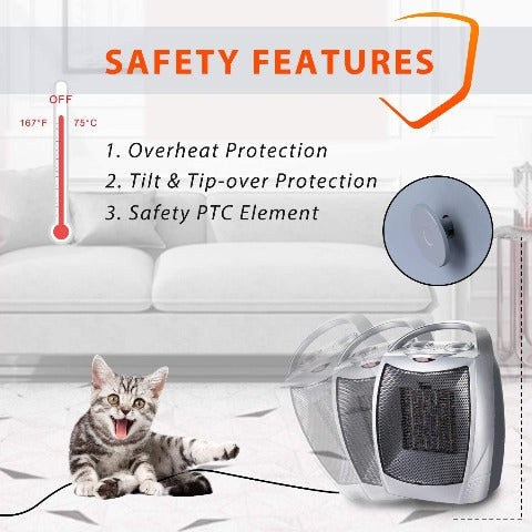 Portable Electric Space Heater 1500W/700W Personal Room Heater With Thermostat
