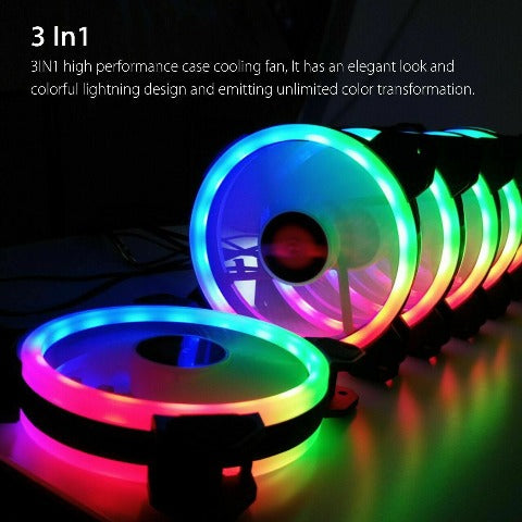 Colorful PC Fan CPU Cooler RGB LED 120mm With Remote Control