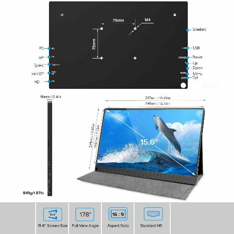 """Portable Monitor For Laptop 15.6"""" IPS Screen For PS4 Xbox One"""