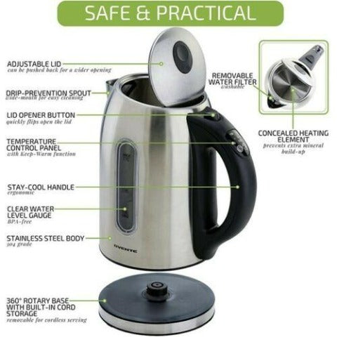 Ovente Electric Stainless Steel Kettle 1.7 L Water Boiler & Heater