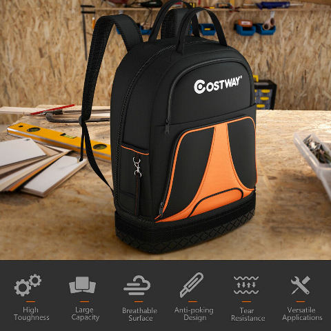 Tool Backpack Heavy Duty Tool Bag With 33 Pockets