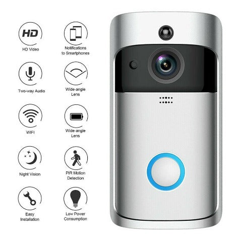 Wireless Video Doorbell Camera With Night Vision & Motion Detection