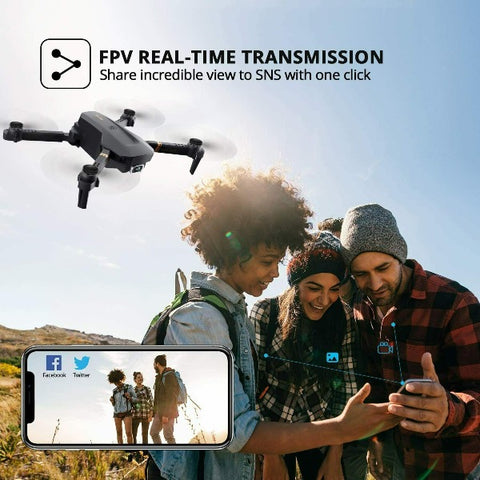 Drone X Pro 4K Ultra HD Camera Wi-Fi FPV GPS with Foldable RC Quadcopter
