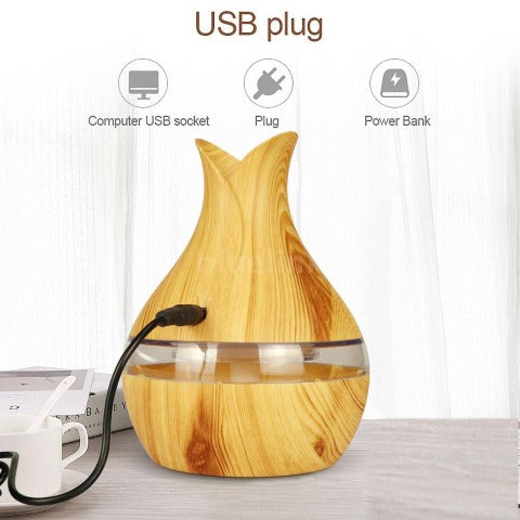 300ml Essential Oil Diffuser With Dark And Light Wood Grain