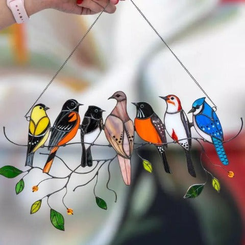 Birds Stained Glass Suncatcher Window Panel - Mothers Day Gift