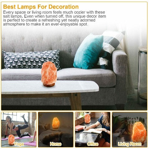 Natural Himalayan Salt Lamp Handcrafted With Wooden Base