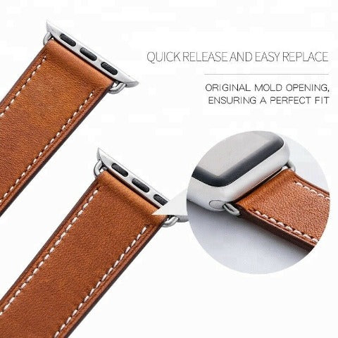 Genuine Leather Single Tour Band For Apple Watch - Brown
