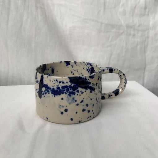 Blue ink clear glossy cup