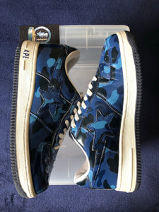 Bape Blue Camo Leather Bapestas 9.5