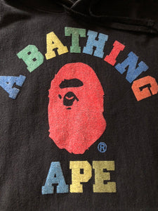 Bape Black Multi Color College Logo Pullover Hoodie