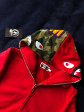 Load image into Gallery viewer, Bape Red/Green Camo Shark Full ZIP Hoodie