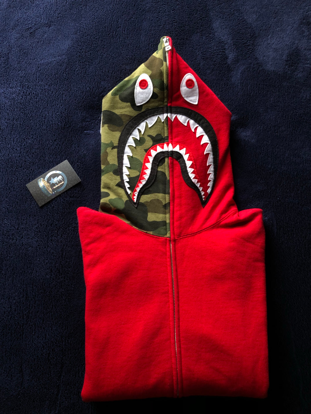 Bape Red/Green Camo Shark Full ZIP Hoodie