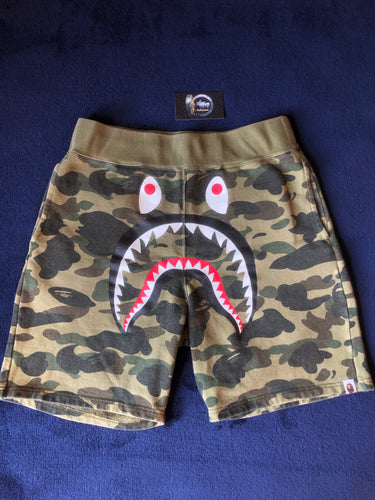 Bape Green Camo Shark Sweat Shorts