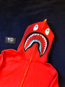 Bape Red Neon WGM Shark Full ZIP Hoodie