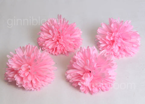 ARTIFICIAL WHITE BALL MUM FLOWER - PINK (WHOLESALE PACK OF 120 HEADS)