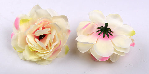 ARTIFICIAL CAMELLIA ROSE HEADS - PEACH SHADED (WHOLESALE PACK OF 50 HEADS)