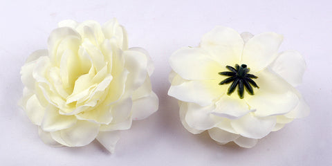 ARTIFICIAL CAMELLIA ROSE HEADS - WHITE (WHOLESALE PACK OF 50 HEADS)