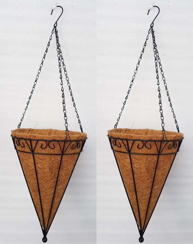 COCO COIR INNER METAL HANGING BASKET - CONICAL 14.5 INCH (SET OF 2 PC)
