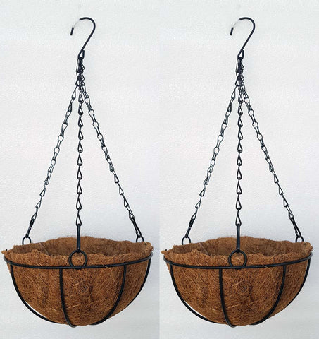 COCO COIR INNER METAL HANGING BASKET - ROUND 8 INCH (SET OF 2 PC)