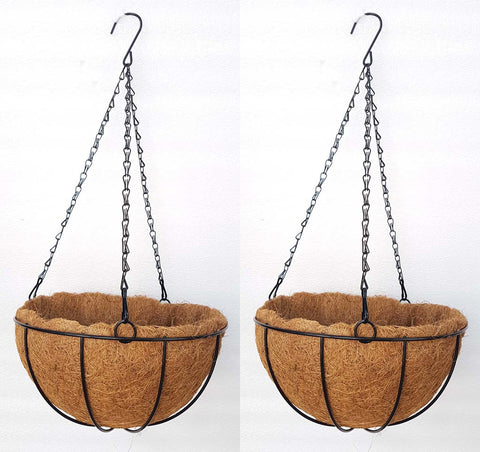 COCO COIR INNER METAL HANGING BASKET - ROUND 10 INCH (SET OF 2 PC)